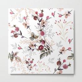 Vintage vector illustration with wild rose berries  Metal Print