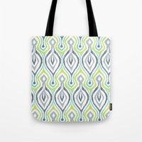 ikat Tote Bags featuring Sketchy IKAT by Patty Sloniger