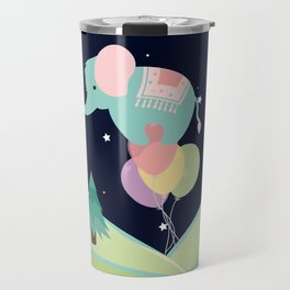 Elephant with Balloons, nursery decor , Travel Mug