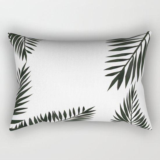 Black Watercolor Tropical Leaves Rectangular Pillow