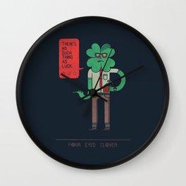 Four Eyed Clover Wall Clock
