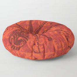 Red Tribal Octopus Floor Pillow