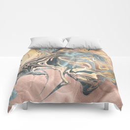 Liquid Gold and Rose Gold Marble Comforters