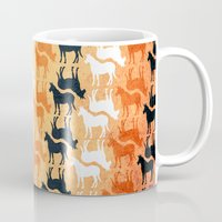 striped Mugs featuring Striped Unicorn by That's So Unicorny