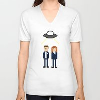 dana scully V-neck T-shirts featuring Mulder & Scully by Evelyn Gonzalez