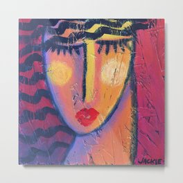 Abstract Portrait on Red Acrylic on OSB Board Metal Print