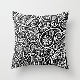 Oriental Persian Paisley, Dots - Black White Throw Pillow