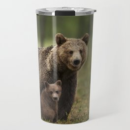 Mama bear with adorable cubs Travel Mug