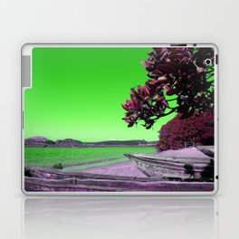 Tropical Beach with Wooden Boats in Green Laptop & iPad Skin
