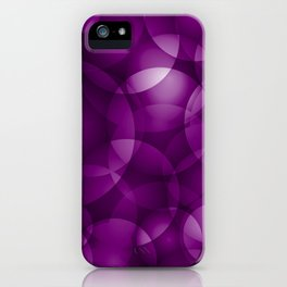 Dark intersecting purple translucent circles in bright colors with a blueberry glow. iPhone Case