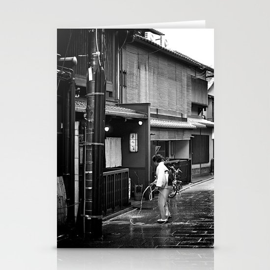 Watering the Streets of Gion, Kyoto Stationery Cards