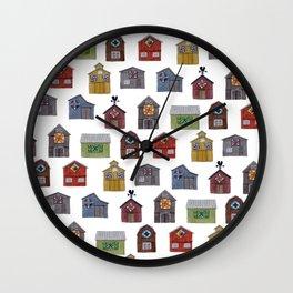 Barn Quilt Illustration Wall Clock
