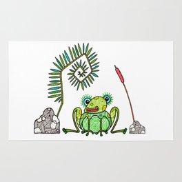 Frog, Fern, Bulrush and Rocks Rug