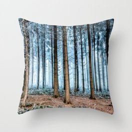 Snow Covered Forest Throw Pillow