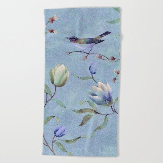 Summer bird Beach Towel