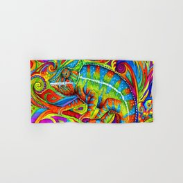 Psychedelizard Colorful Psychedelic Chameleon Rainbow Lizard Hand & Bath Towel