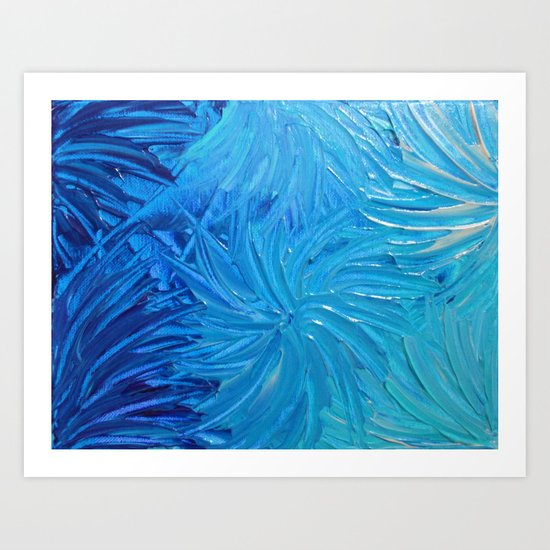 WATER FLOWERS 2 - Stunning Ocean Beach Waves Floral Abstract Acrylic Painting Turquoise Blue Navy Art Print