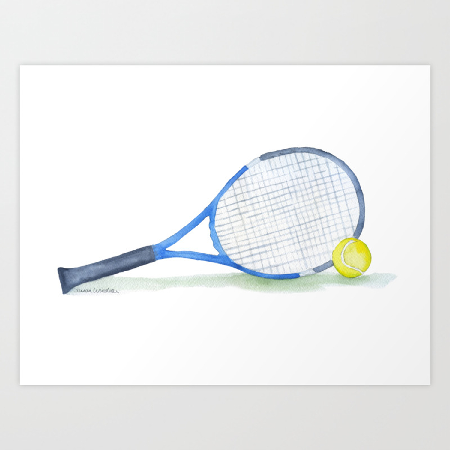 Tennis Racket And Tennis Ball Watercolor Art Print By Susanwindsor Society6