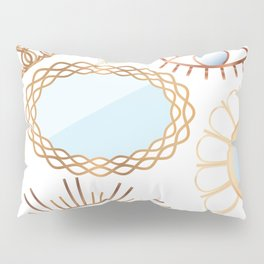 Retro Rattan Midcentury Mirrors in Natural Pillow Sham