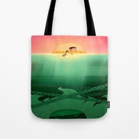 jaws Tote Bags featuring JAWS by hyasinths