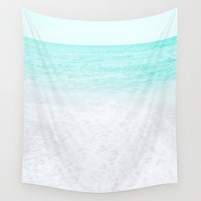 Bohemian turquoise sea foam, Minimal blue sea water, Coastal Wall Tapestry