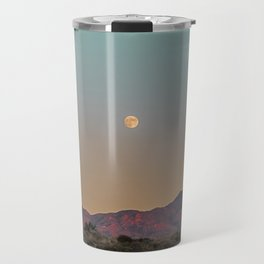 Sunset Moon Ridge // Grainy Red Mountain Range Desert Landscape Photography Yellow Fullmoon Blue Sky Travel Mug