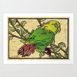 Parrot Linocut Art Print