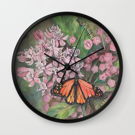 Monarch Butterfly and Milkweed Flowers Wall Clock