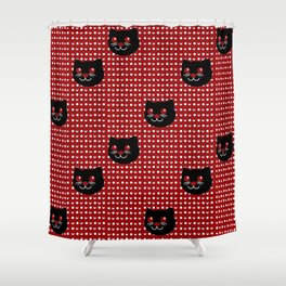 Crimson Moon Cat Dots Shower Curtain