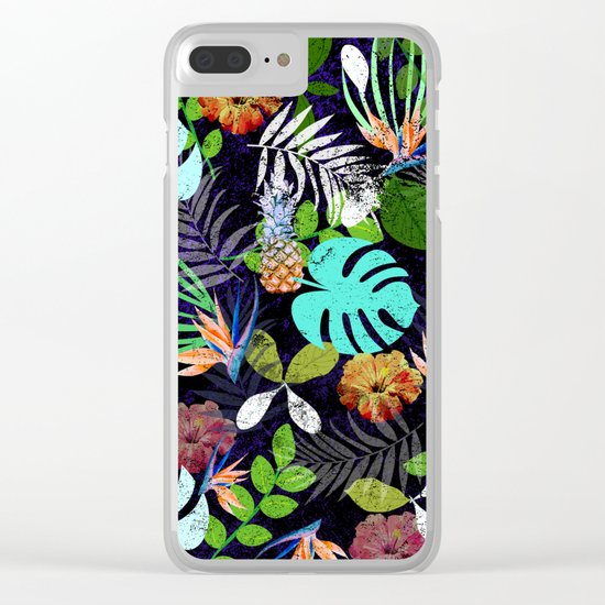 Tropical garden at night Clear iPhone Case