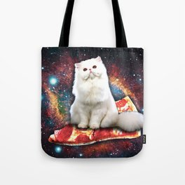 Space cat pizza Tote Bag