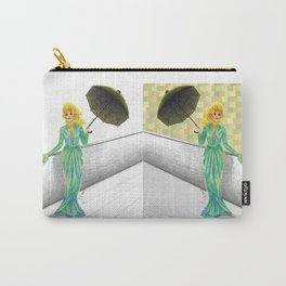 "Mixed Media Collage ""Frau in Abendrobe mit Regenschirm"" Carry-All Pouch"