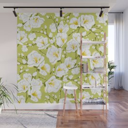 White freesia on a green background Wall Mural
