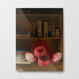 Red Dog Kept On A Shelf Metal Print