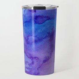 Blue purple pink hand painted watercolor pattern Travel Mug