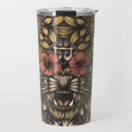 Tiger and flowers Travel Mug