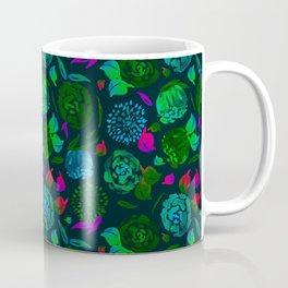 Watercolor Floral Garden in Electric Black Velvet Coffee Mug