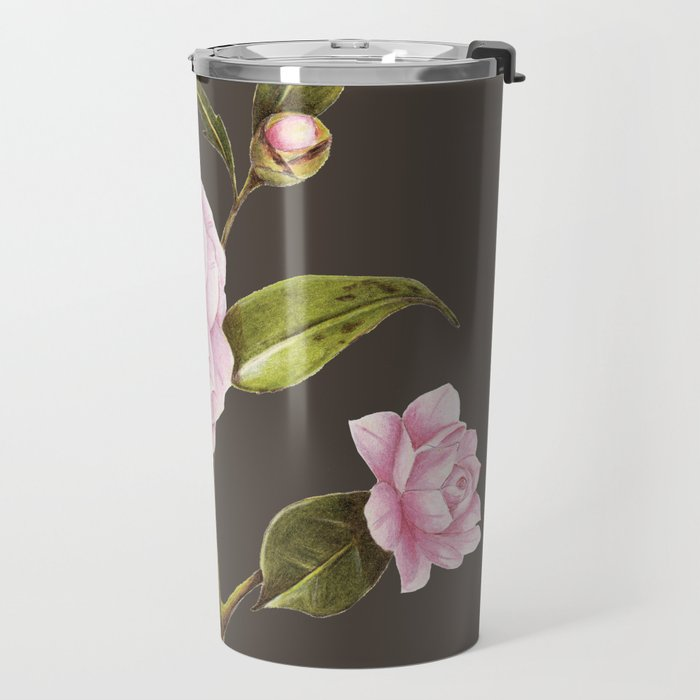CAMILLIA BOTANICAL ILLUSTRATION cocoa Travel Mug