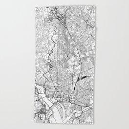 Washington D.C. White Map Beach Towel