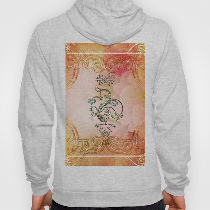 Beautiful diamonds hearts with soft flowers on the background Hoody