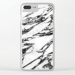 Modern Black and White Marble Stone Clear iPhone Case