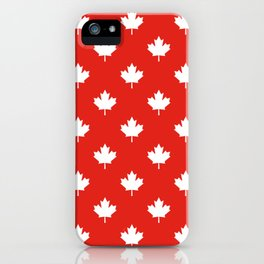 Large Reversed White Canadian Maple Leaf on Red iPhone Case