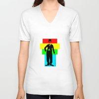 charlie chaplin V-neck T-shirts featuring Charlie Chaplin by Silvio Ledbetter