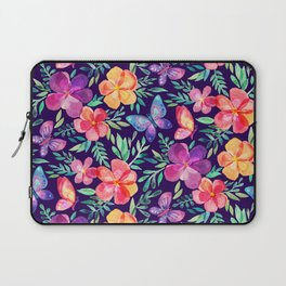Summer Blooms & Butterflies on Dark Purple Laptop Sleeve