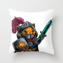 Knight Cat Warrior Shield Sword Cavalier Noble Gift Throw Pillow