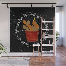 Merry Christmas Cactus Wall Mural