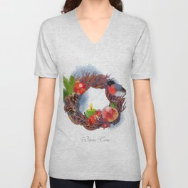 Winter Christmas Wreath 01 Unisex V-Neck