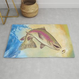 End Of The Line // Rainbow Trout Jumping Out Of Splashing Water // With Lure at Sunset // Fish On! Rug