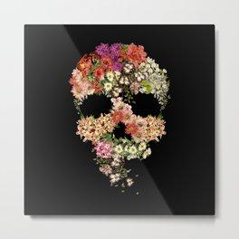 Skull Floral Decay Metal Print