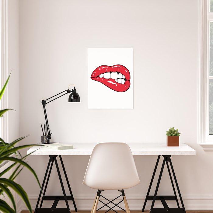 Red Lips Pop art Poster
